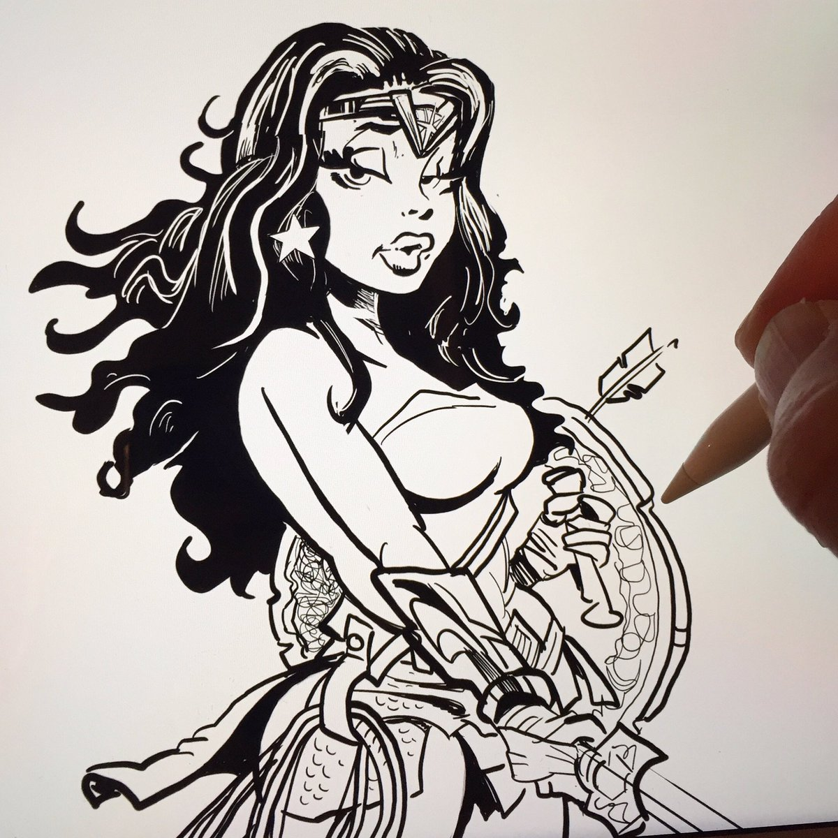 yeo cartoons on twitter sketching wonder woman cartoon sketch wonderwoman ink drawing smile dc comics amazon httpstcoo0kekmukcr
