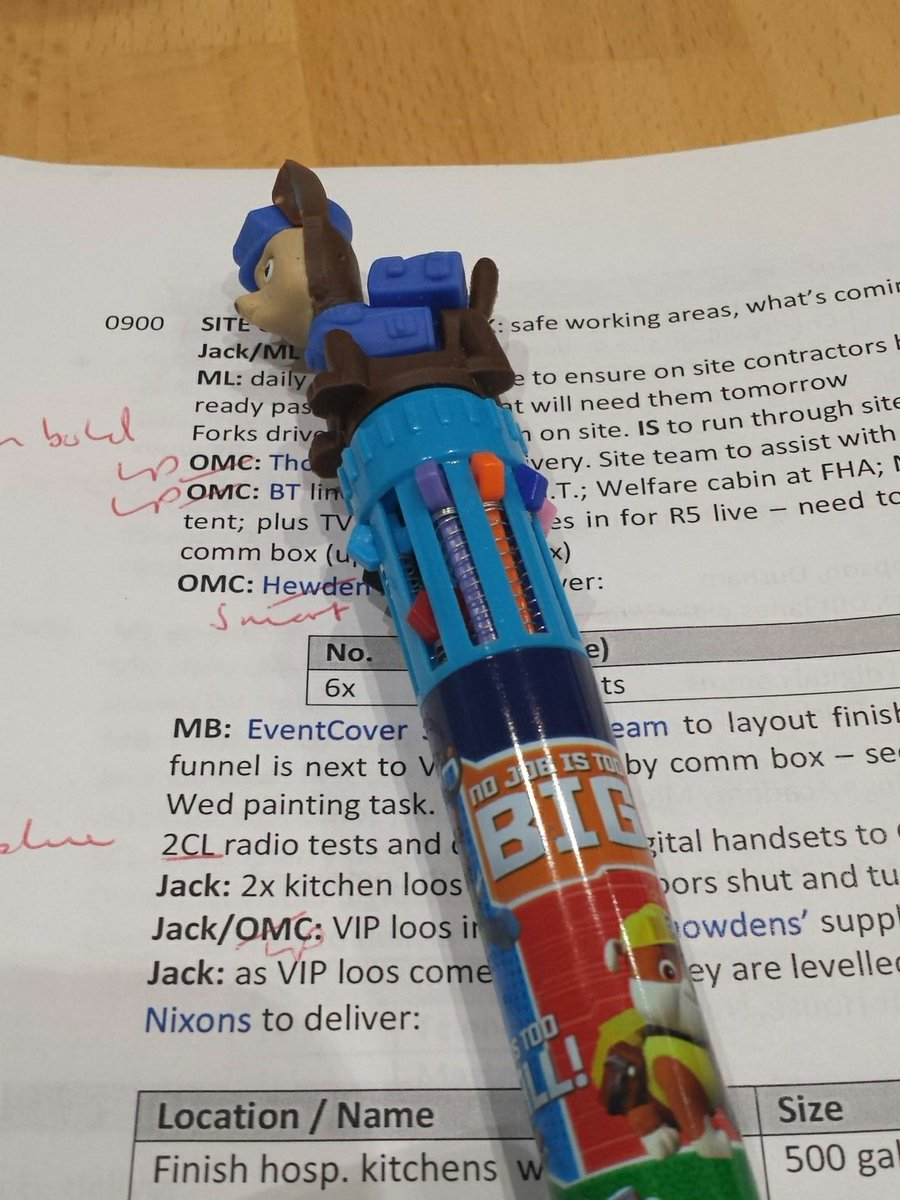 Left my very important red pen at the office. Now feeling uber #eventprof as I edit stuff with a paw patrol 10 colour (count them) changer <br>http://pic.twitter.com/YpkkdNzAyy
