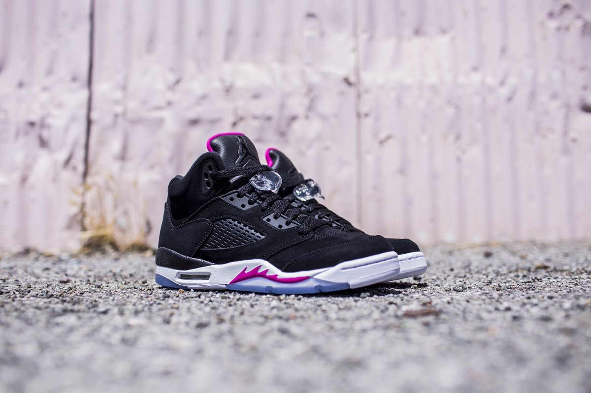 arrives 6baca ab1a5 air jordan retro 5 deadly pink grade school black pink white icy blue free  shipping