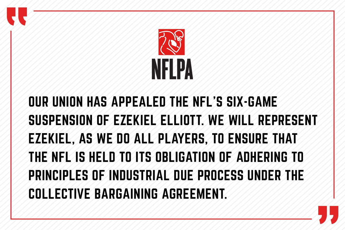 Nflpa On Twitter Our Union Has Appealed The Nfls Six Game
