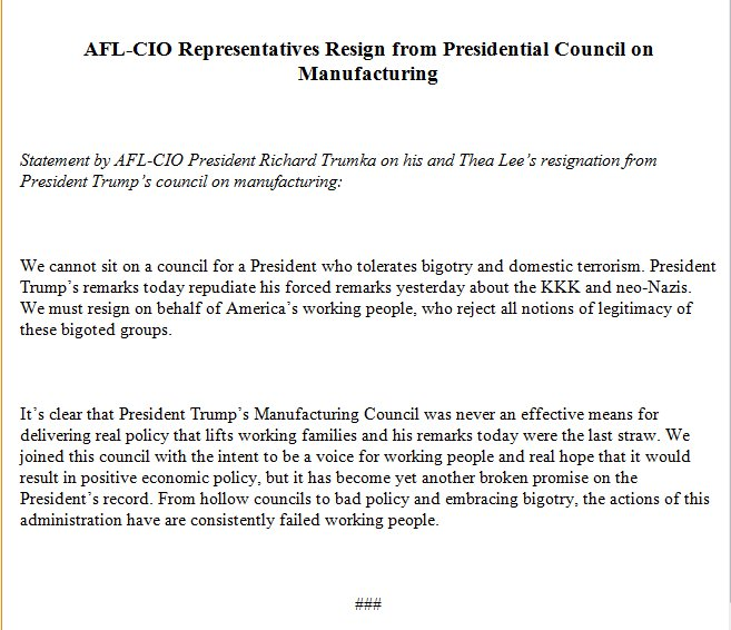 JUST IN: AFL-CIO officials resign from Presidential Council on Manufacturing.