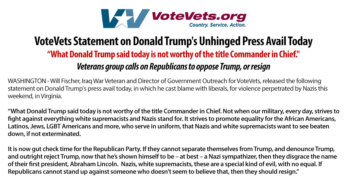 VoteVets&#39; @will_c_fischer says after @realDonaldTrump outed himself today as a #Nazi apologist, it&#39;s gut check time for the Republican Party <br>http://pic.twitter.com/TkqJlZ6Z0X