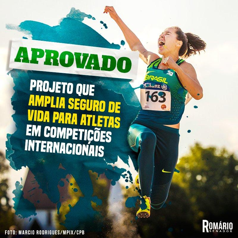 Aprovado meu projeto que busca ampliar o seguro de vida e acidentes para os atletas em competições internacionais! https://t.co/NlL6wHr6wi