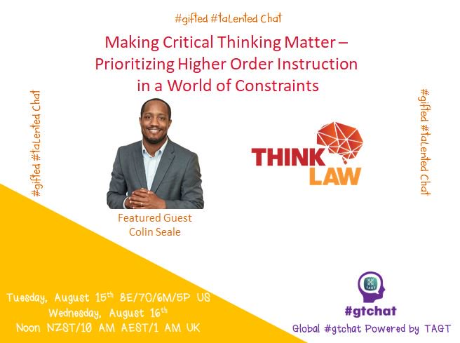 "T-10 till #gtchat – Today's chat: ""Making Critical Thinking Matter - Prioritizing Higher Order Instruction in a World of Constraints"" https://t.co/Dzy7jP4pzi"