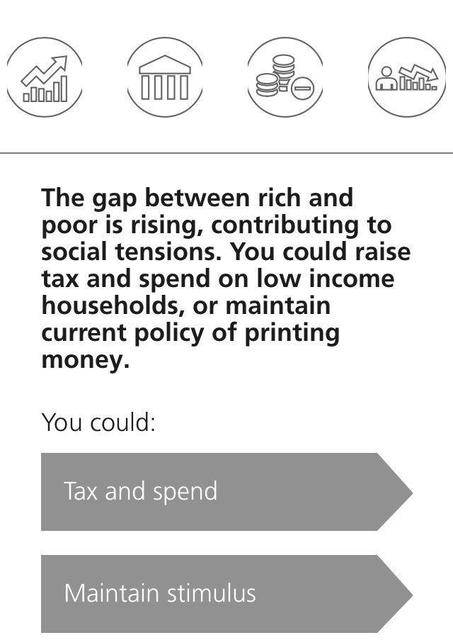 You have total control of #monetary &amp; #fiscal policy. How will you tackle #inequality, #populism? Play the game:  https:// m.ubs.com/global/en/chie f-investment-office/end-game.html?language=en &nbsp; …  #FX<br>http://pic.twitter.com/S96yyM9ANf