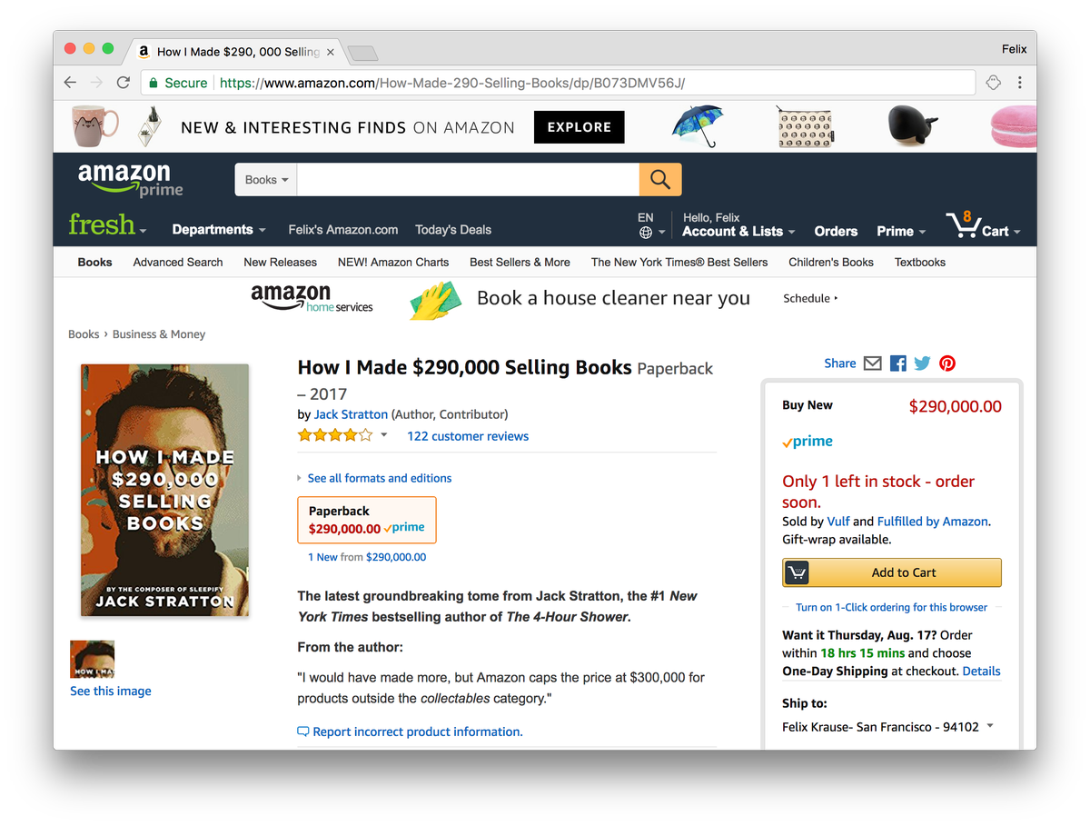 """""""How I Made $290,000 Selling Books"""" - only 1 left in stock"""