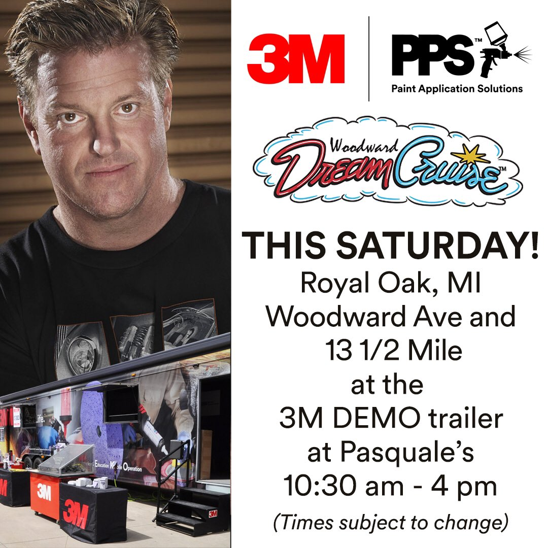 Saturday 8/19 I'll be at @WoodwardDream with @3M_Collision @3MAutoUSA for autographs, demos and more