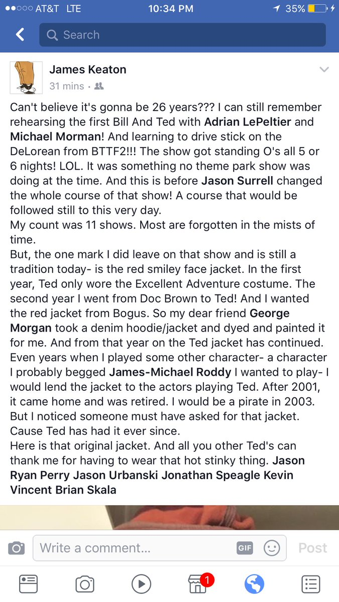Here is a little tidbit I posted on Facebook about Bill And Ted. #BillAndTed #HHN27 #RedSmileyFaceJacket #TheMoreYouKnow #ItsHistory<br>http://pic.twitter.com/rblA4FteZz