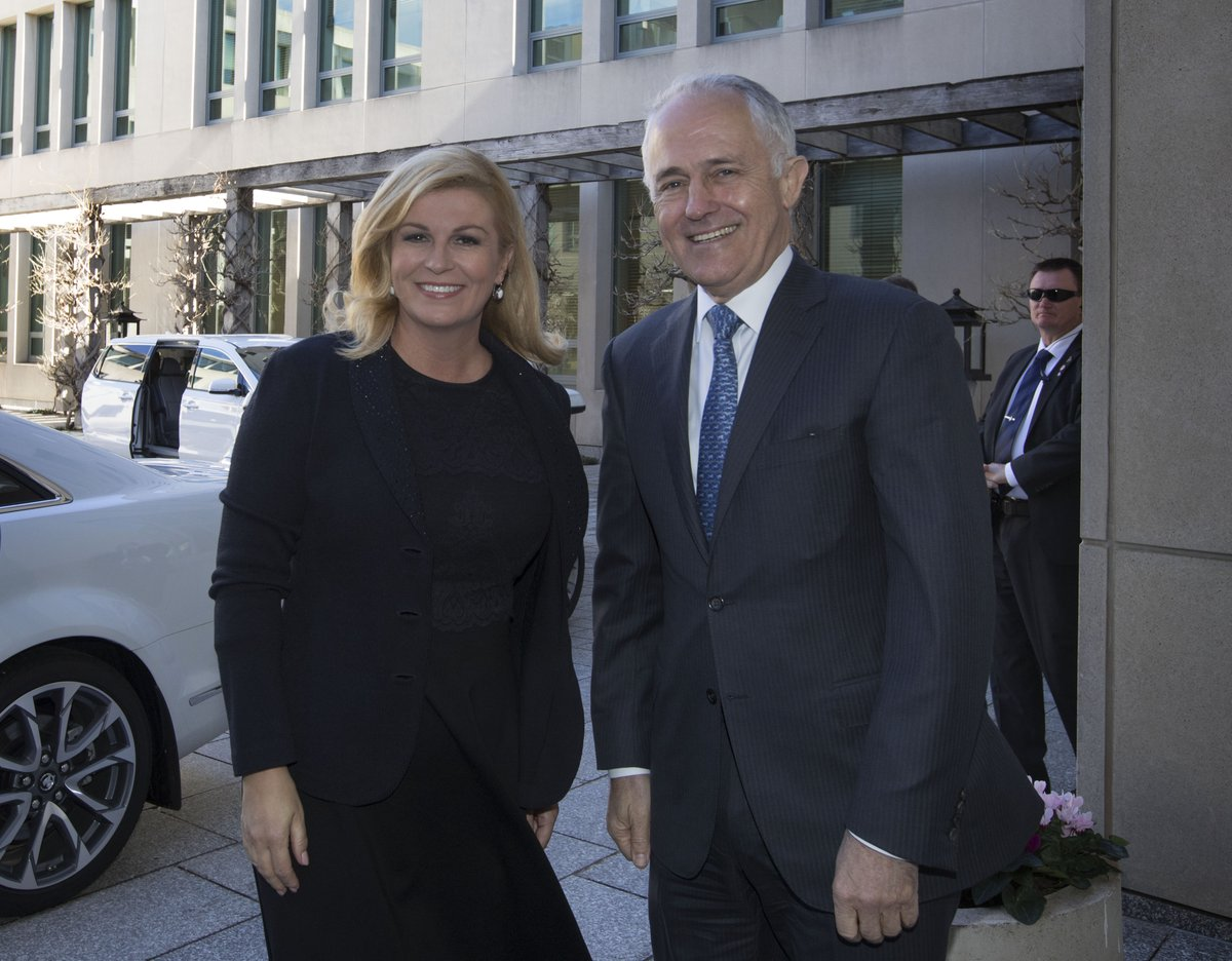 The PM welcoming Kolinda Grabar-Kitarovi...