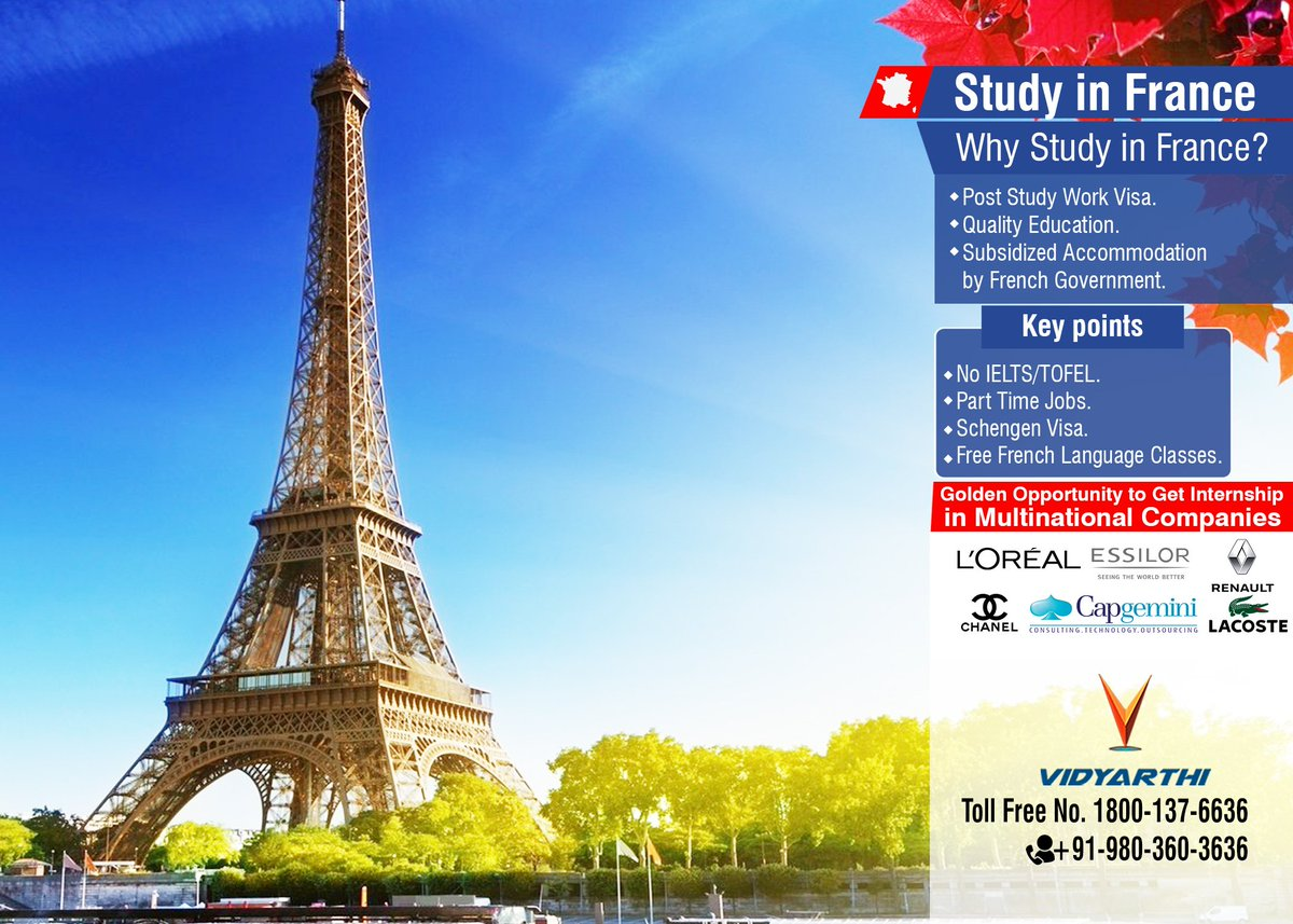 Study in #FRANCE Apply your visa for France without IELTS. Get paid or unpaid internship. Vidyarthi 980-360-3636 1800-137-6636 <br>http://pic.twitter.com/o0qjBTe9Yo