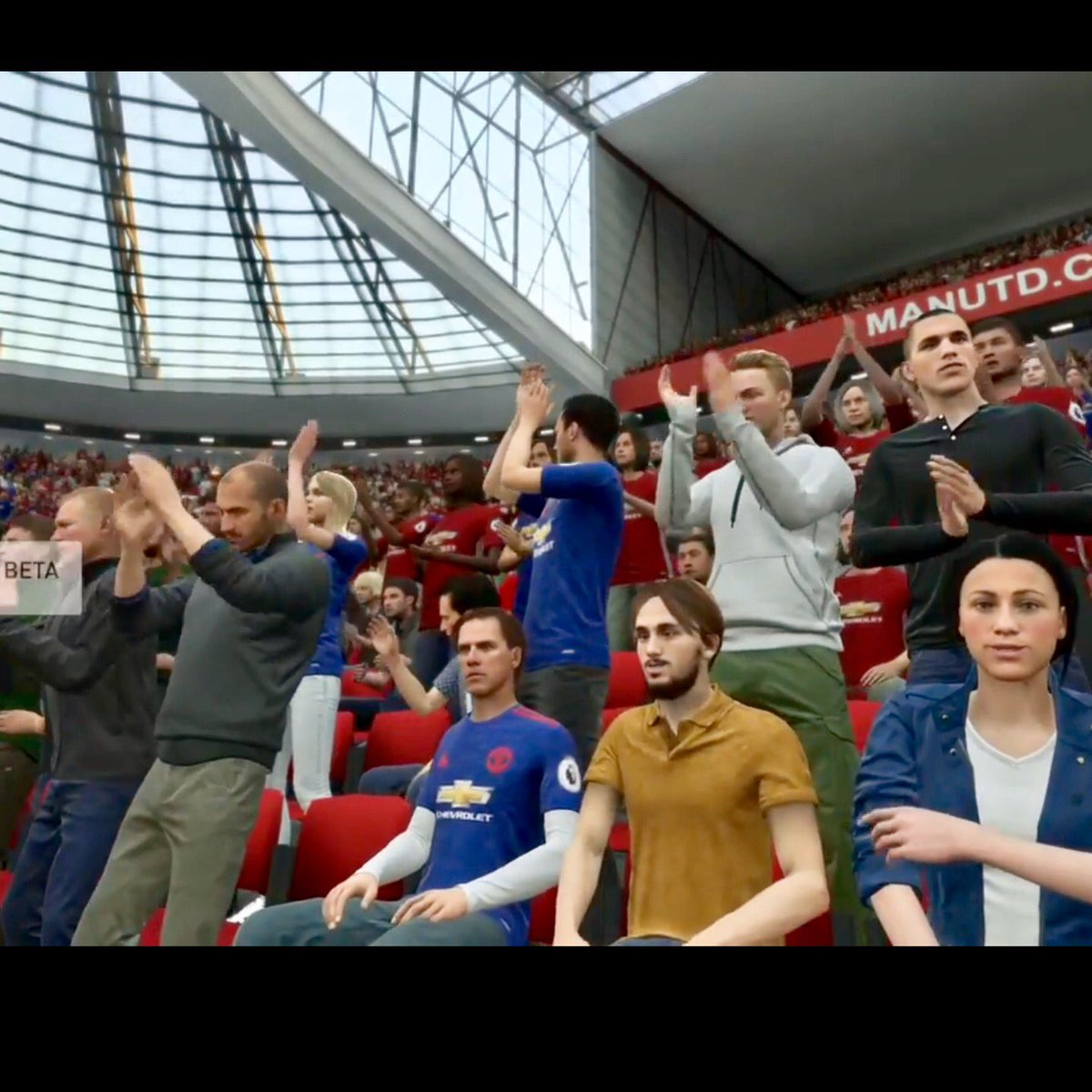 That moment when aleix garcia is in the crowd with manchester united supporters in the fifa 18 beta #fifa18 #fifa #ea<br>http://pic.twitter.com/IcXz9EorwH