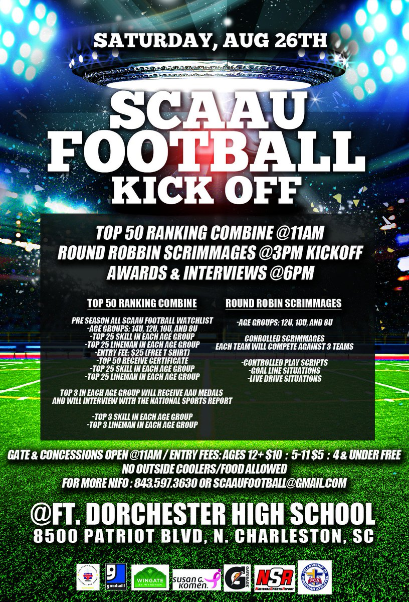 2017 SCAAU Football Kickoff!!! Saturday, August 26th @ Fort  Dorchester High School! #GoldStandard #SouthCarolina #AAU<br>http://pic.twitter.com/YhOl5seAfq