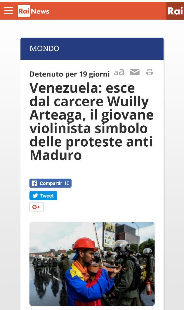 #16Ago EL MUNDO NOS MIRA: RAI en ITALIA: Sale de la cárcel Wuilly Arte...