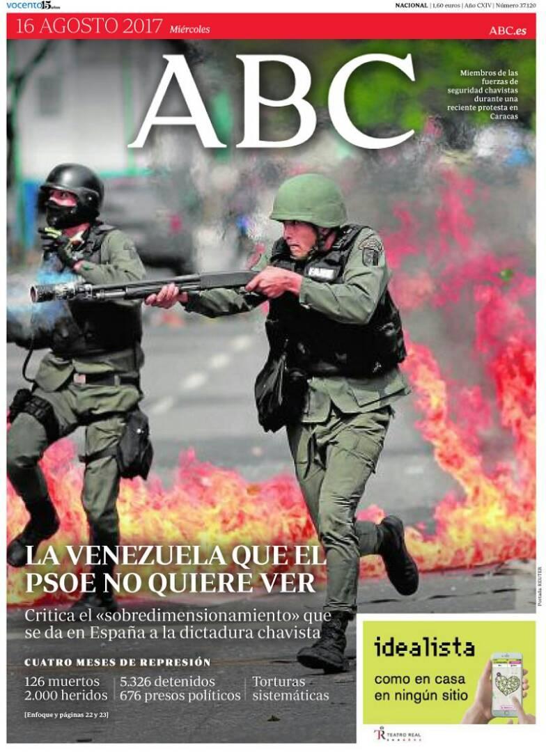 #16Ago PRIMERA PÁGINA | ABC de ESPAÑA. 'La Venezuela que el PSOE no qu...
