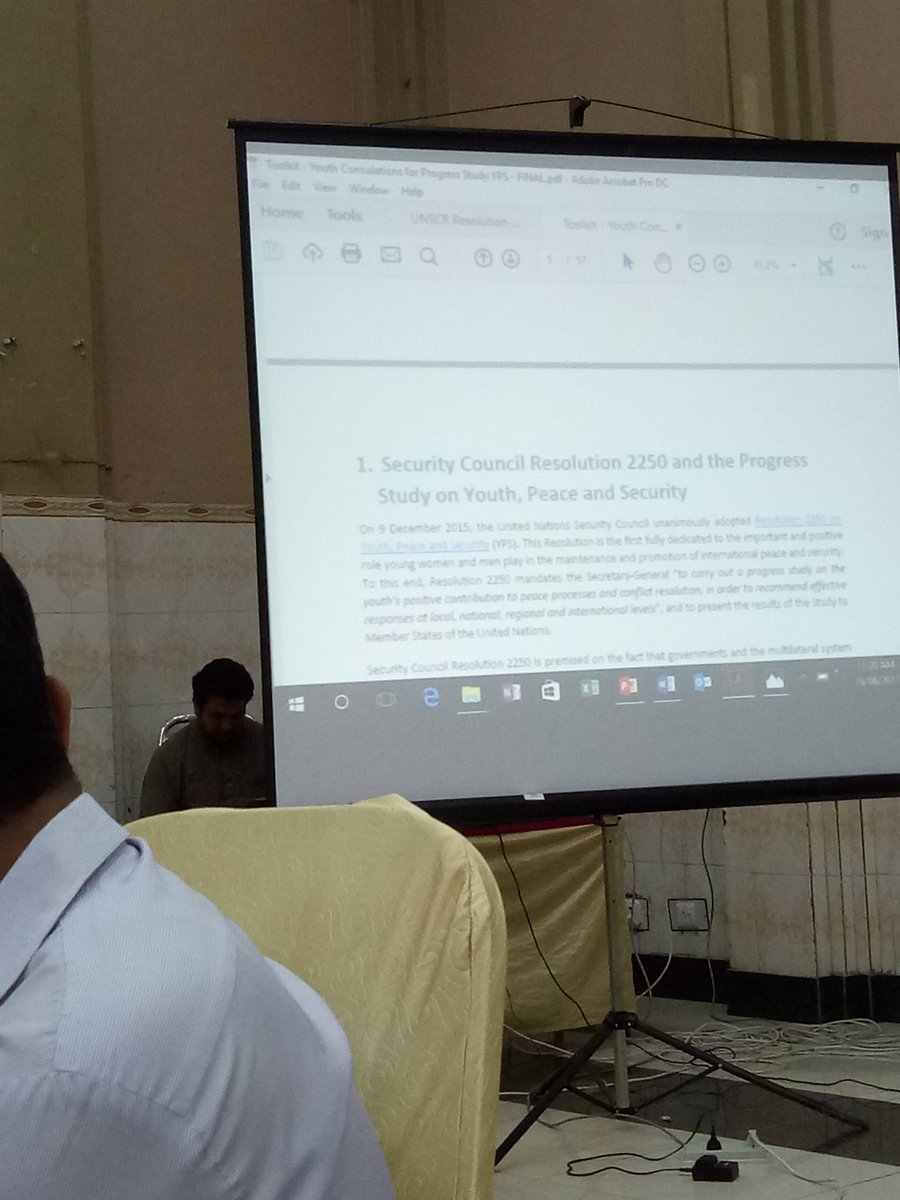2250 Resolution of UN security Council (2015) on Youth,  Peace &amp; Security being discussed.  @CodeforPakistan  #UNDP #YBP #CfP<br>http://pic.twitter.com/rK85VjNEEY