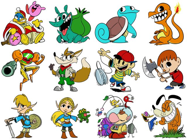 Some non-Mario Nintendo designs for con stickers.  #kirby #pokemon #metroid #starfox #earthbound #Villager #zelda #pikmin #duckhunt #fanart<br>http://pic.twitter.com/54zwI74tEC