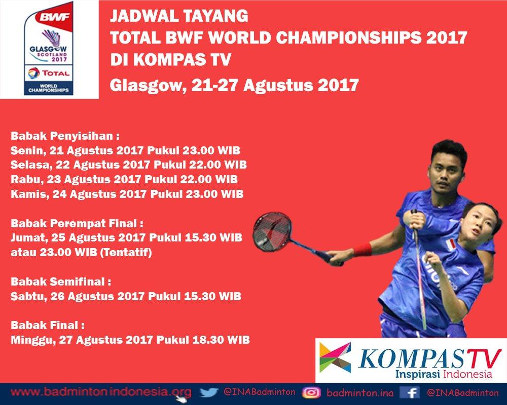 Jadwal Siaran Langsung BWF World Badminton Championships 2017