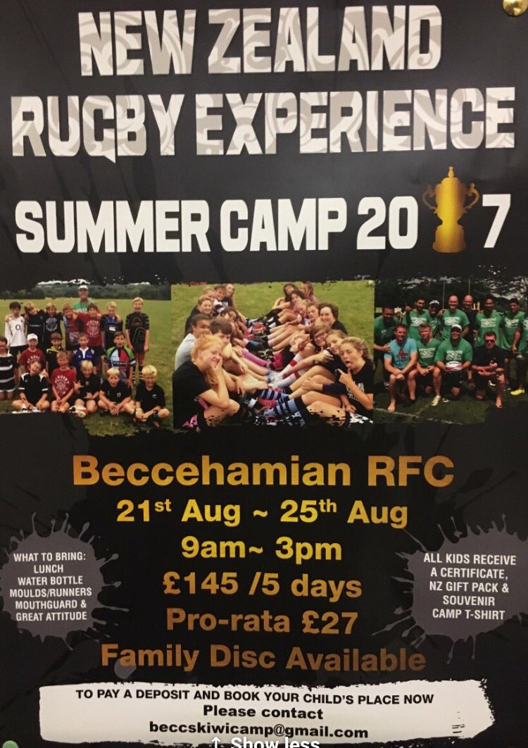 #BeccsRugby host kiwi rugby camp 21-25Aug all schools,clubs &amp; kids age7-15 welcome, day pass available #RugbyFamily  https:// twitter.com/beccehamianrfc /status/852144894047121410 &nbsp; … <br>http://pic.twitter.com/NztJnhLjhW