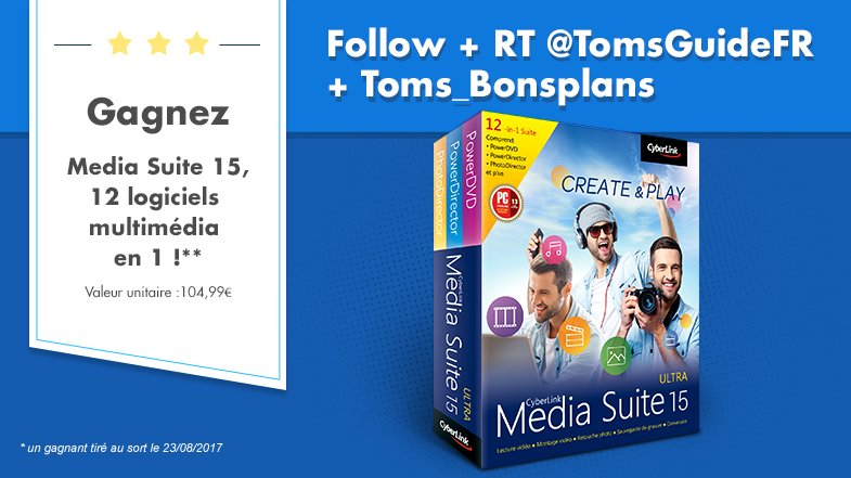 #CONCOURS 💣 A gagner: 5 suites multimédia #MediaSuite15 (montage vidéo, lecteur DVD, gravure...) 👉Suivre @TomsGuideFR &   👉R@Toms_BonsPlansT