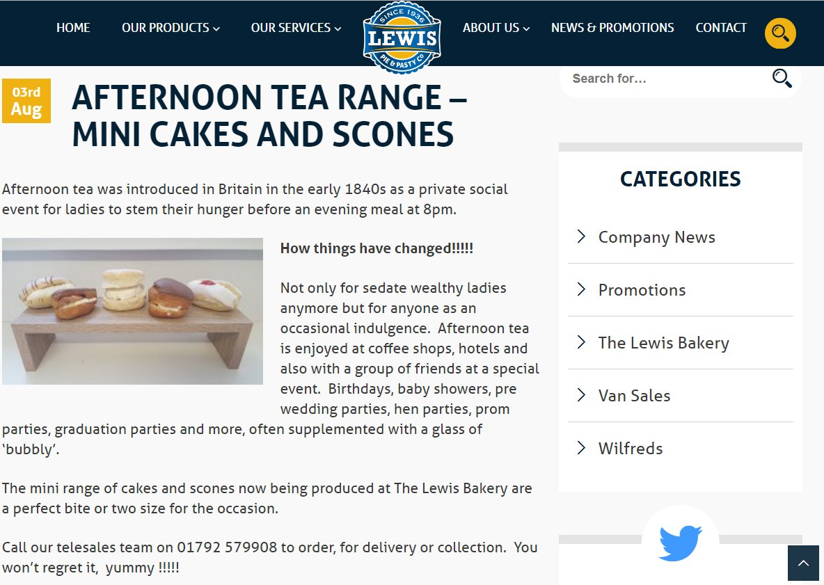 test Twitter Media - Its #AfternoonTeaWeek so why not order some of @thelewisbakery Afternoon Tea range? #afternoontea #cakes #mini #food #bakes #scones #sweet https://t.co/UBBHGtdz1h