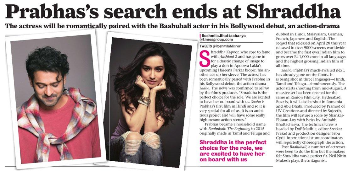[SCAN]: @ShraddhaKapoor Joins Prabhas In Saaho! #SaahoWelcomesShraddha