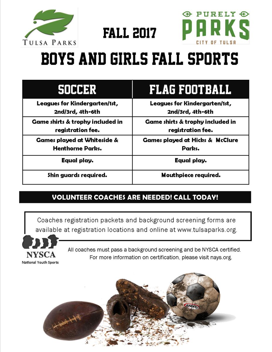 City of tulsa on twitter sign up now for youth rec soccer and city of tulsa on twitter sign up now for youth rec soccer and flag football can sign up as individual or a team 45 per player plus ref fees 1betcityfo Gallery