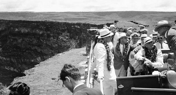 President #Roosevelt at #Kilauea #volcano on the island of #Hawaii on Aug. 3, 1934, listens to Dr. Thomas Jaggar, #volcanologist. #LWH #FDR<br>http://pic.twitter.com/GlYTSaIjMk