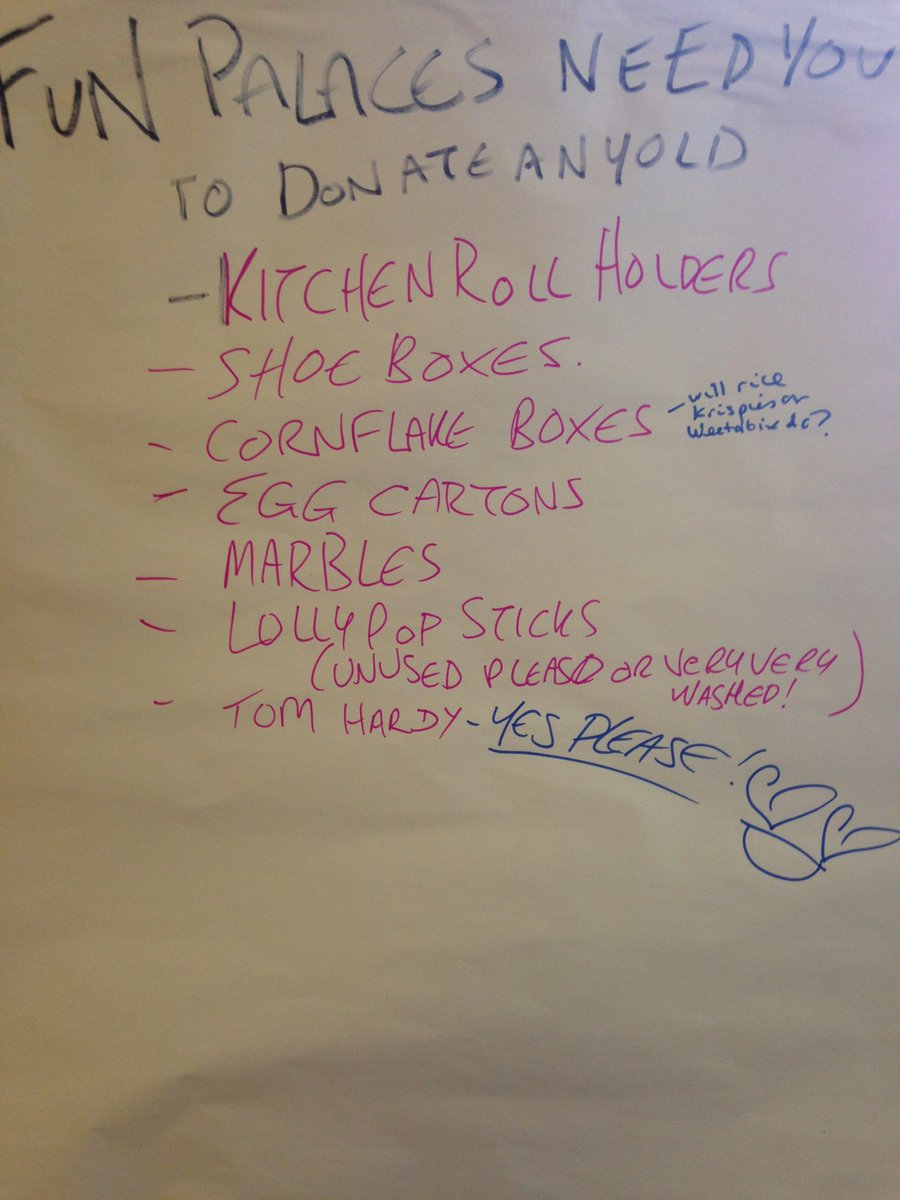 Get your community involved and ask for help! One of our #funpalaces makers at #Taunton library has an unusual shopping list. #tomhardy <br>http://pic.twitter.com/iX9EmDyWmY
