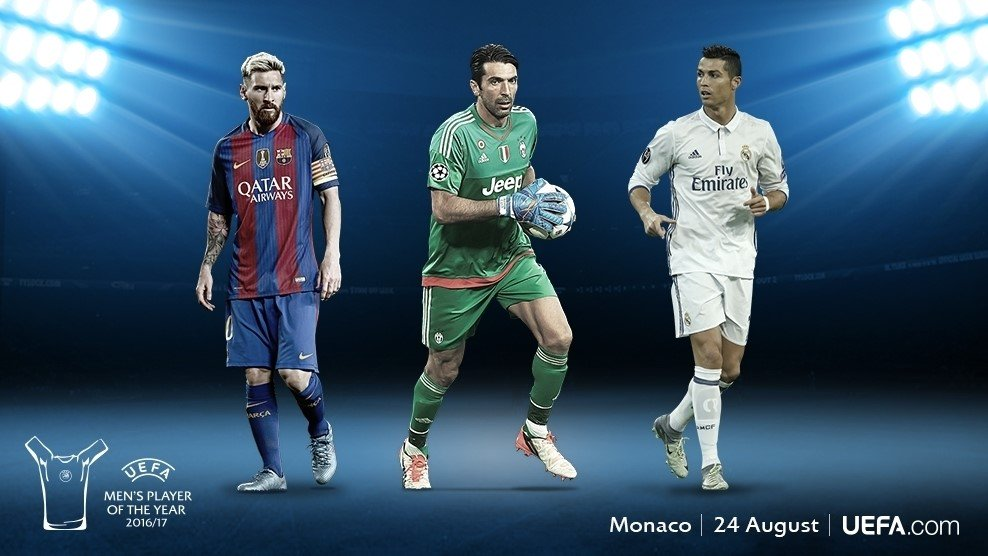 The shortlist for the UEFA Player of the Year:    Leo #Messi  Gianluigi #Buffon  Cristiano #Ronaldo  Who should win the award lads?<br>http://pic.twitter.com/XeoLHzPyvE