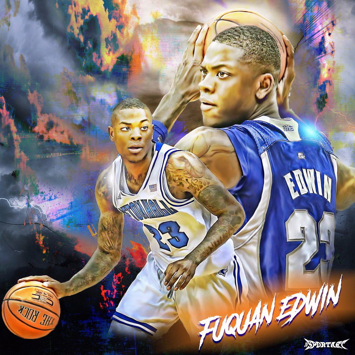Fuquan Edwin atrwork #karhubasket #basketball #artwork #SetonHall #HAL...