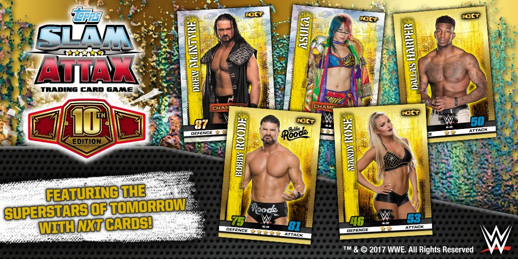 Collect the stars of tomorrow such as @WWEAsuka, @DMcIntyreWWE and @REALBobbyRoode with #SlamAttax10!  Which #NXT superstar is your fave? <br>http://pic.twitter.com/YcyoCoMiSW