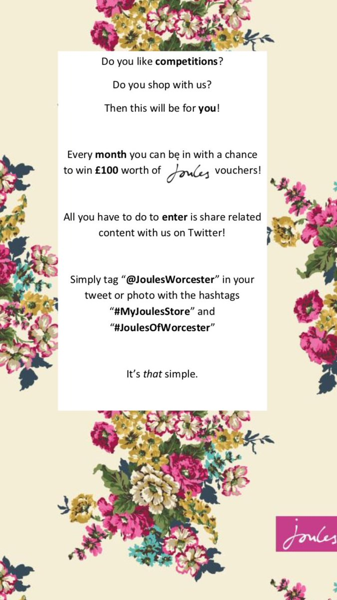 #Competition time! Win £100 worth of #Joules Vouchers! Entry details below! #WorcestershireHour #Worcester <br>http://pic.twitter.com/kOfxLkKTHm