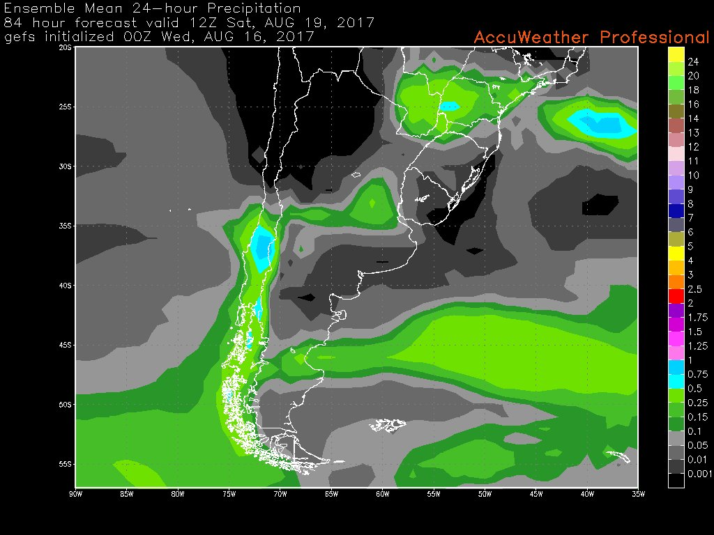 Front will bring some rain/mountain snow to C #Chile late Friday into Saturday. Rainfall in #Santiago 3-10mm.<br>http://pic.twitter.com/1kNrsk6xwT