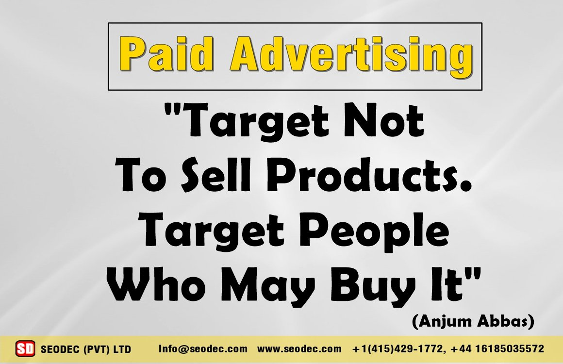 Target Not To Sell Product. Target People Who May Buy It.   http:// goo.gl/3qTNh4  &nbsp;    #SEODEC #PPC #PaidAdvertising #AdWords #FacebookAds<br>http://pic.twitter.com/gmvc0jRbzB