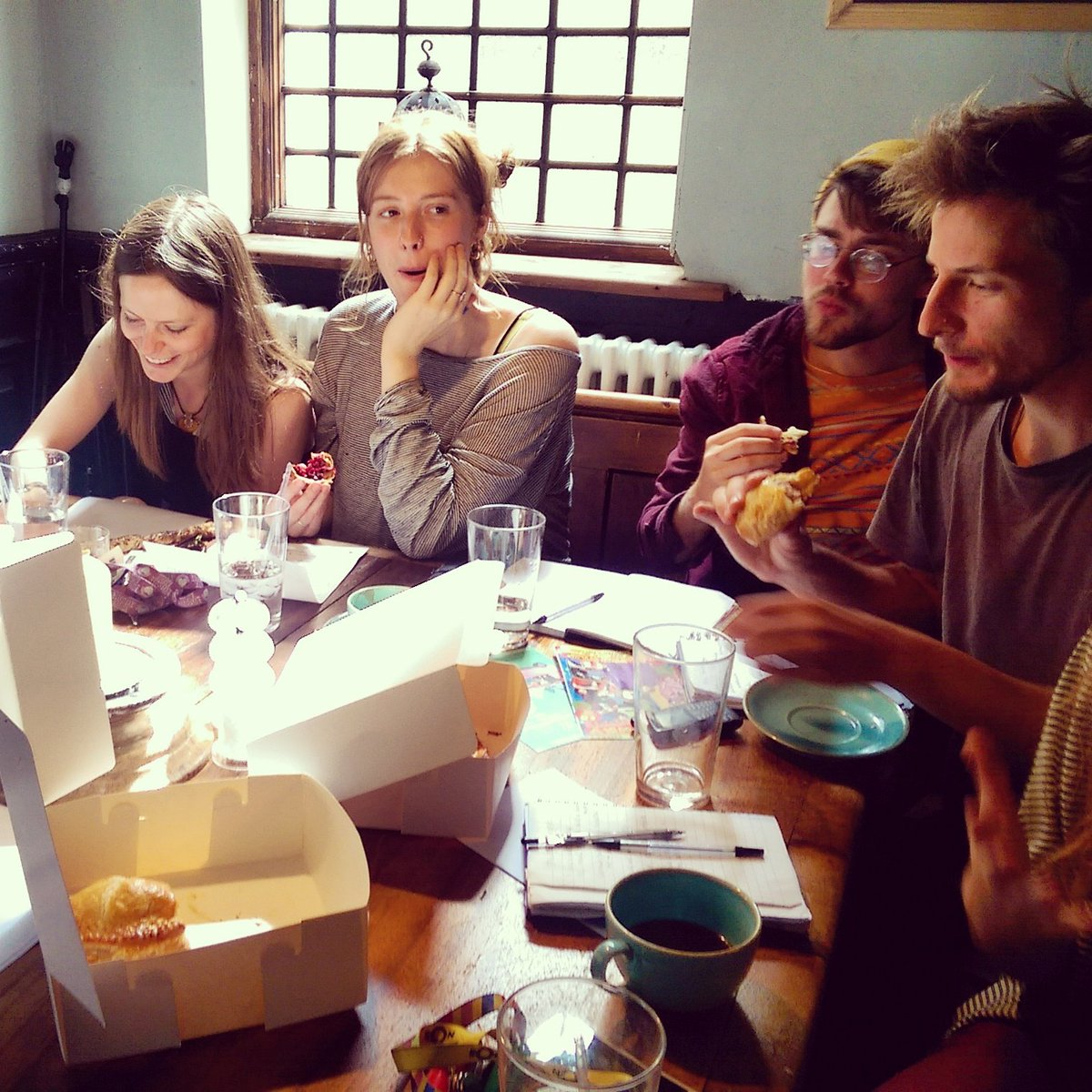 @OMABristol  staff enjoying our goodies!! #luckypeople #eatmoregluten #croissant #pastry #training #bristolbakery #bs2 #happystaff<br>http://pic.twitter.com/8q7Hv7PP1Y