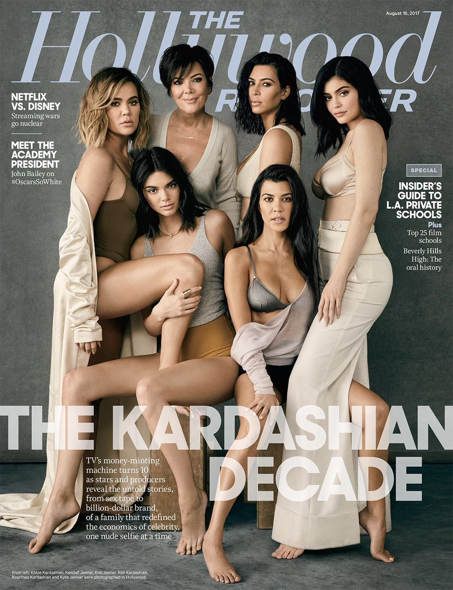#KardashianDecade Kardashian girls Khloe,Kylie,Kendall,Kim,Kourtney and mum Kris cover Hollywood reporter latest edition