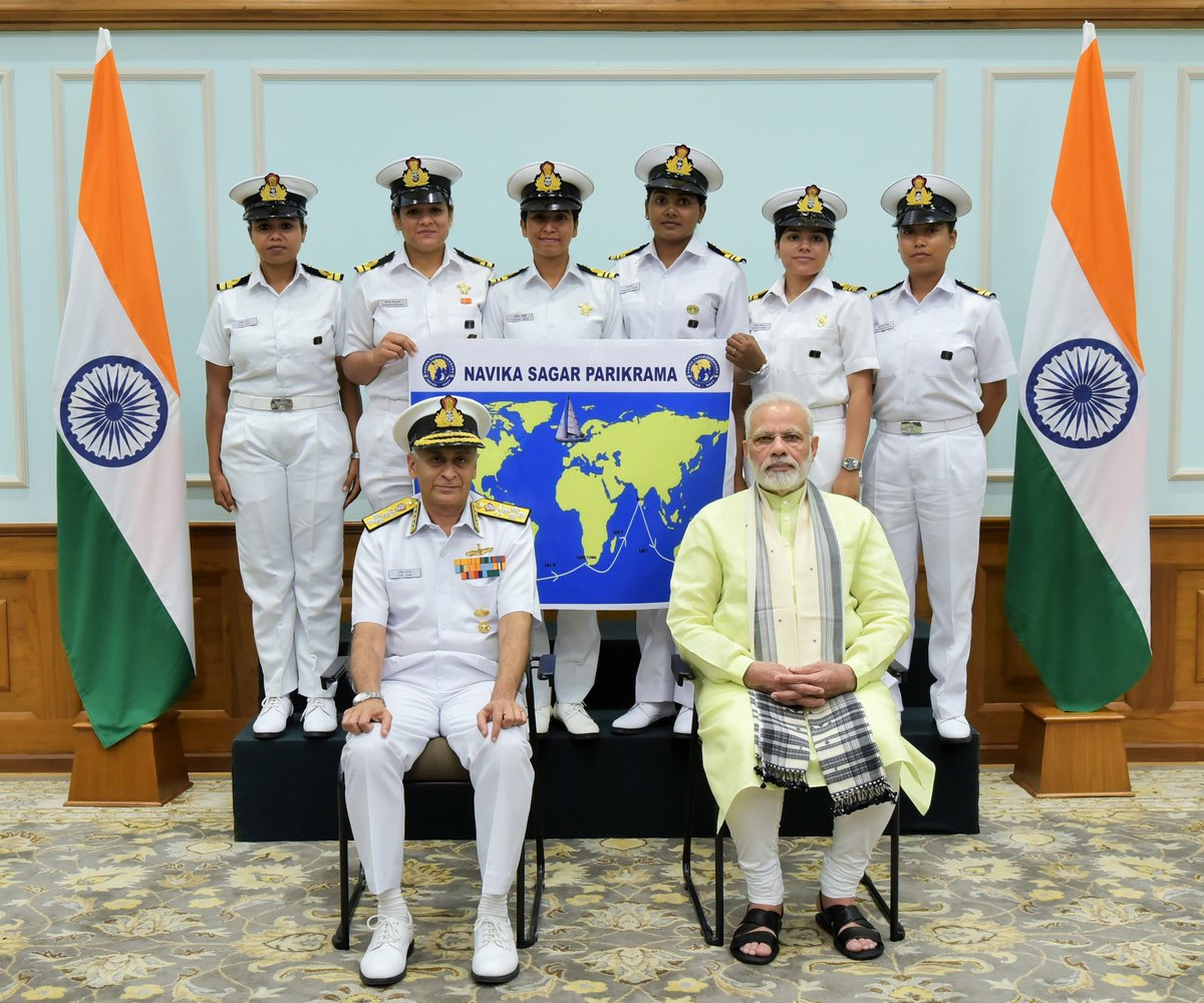 Met 6 bright officers of the Indian navy who are going to circumnavigate the globe on the sailing vessel, INSV Tarini.
