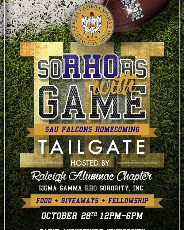 Get ready for our 3rd Annual &quot;Sorors With Game&quot; event. Just look for our Royal Blue and Gold tent!  #SGRho #BLS #GREATER <br>http://pic.twitter.com/CGcy8fePSn