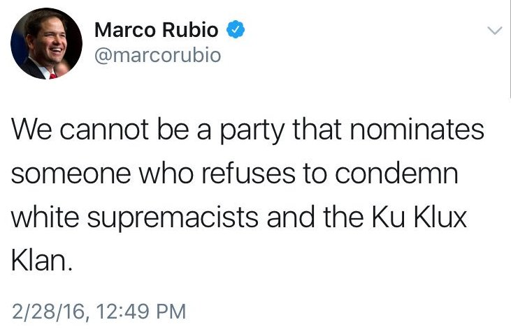 Sen.@marcorubio said this about #Trump in 2016 AND STILL SUPPORTED him for Prez. CREDIBILITY?#TheResistance #CNN #MSNBC<br>http://pic.twitter.com/SnuTHVcSik