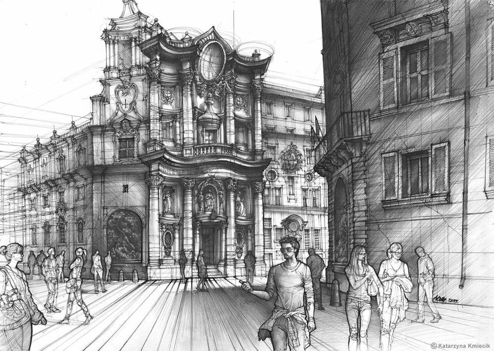 My mixed media #drawing of San Carlo alle Quattro di Fontane church in #Rome  http:// etsy.me/1Q4Gskw  &nbsp;   #urbansketch<br>http://pic.twitter.com/jCXVC4TbJx