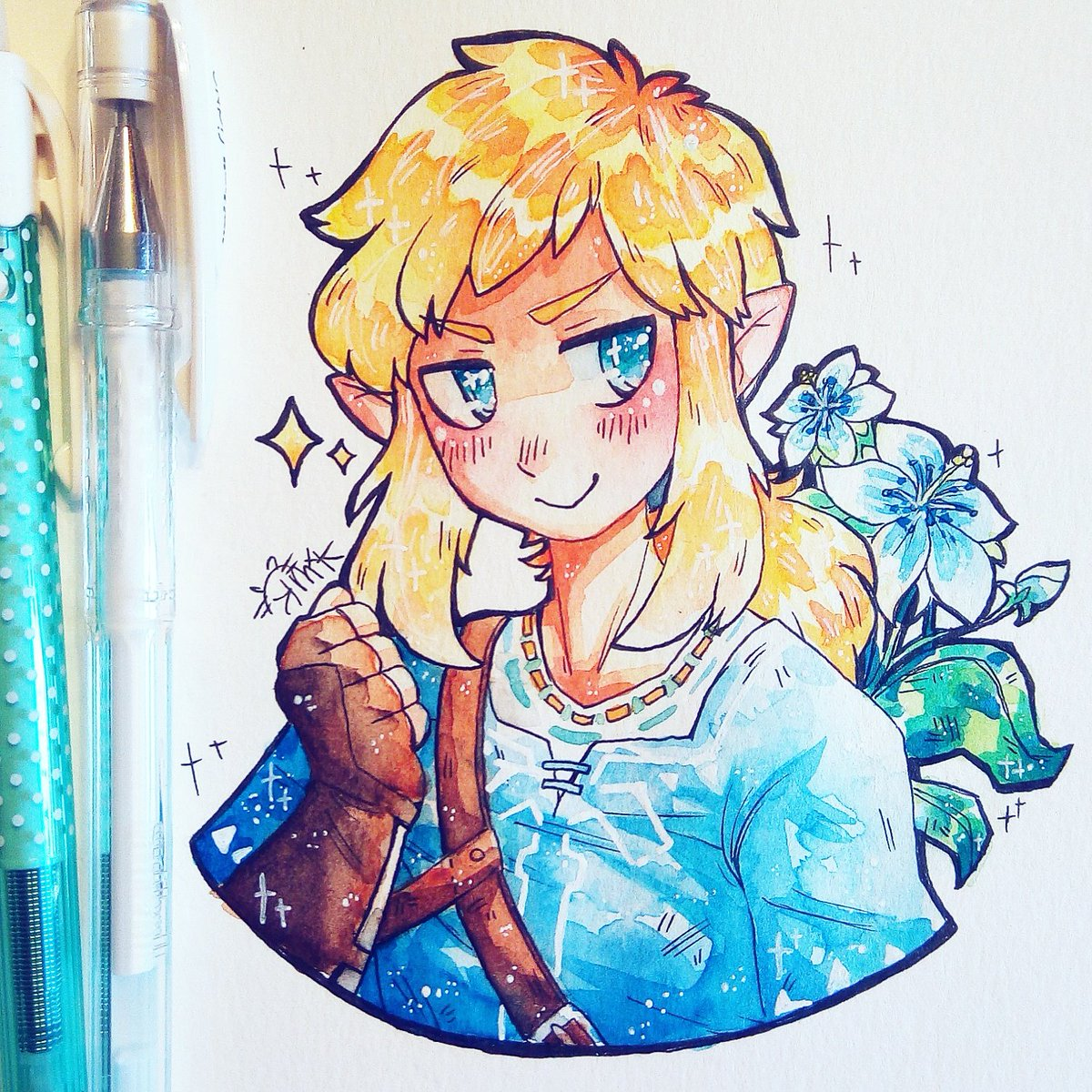 Some #BOTW fan art! This game is so fun! So much to explore~♡♡  #watercolor #illustration #loz <br>http://pic.twitter.com/pr6kQYhDKj