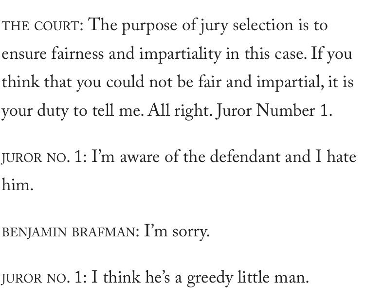 Oh god the Martin Shkreli jury selection transcript is just too good https://t.co/3aGGkzoWgY