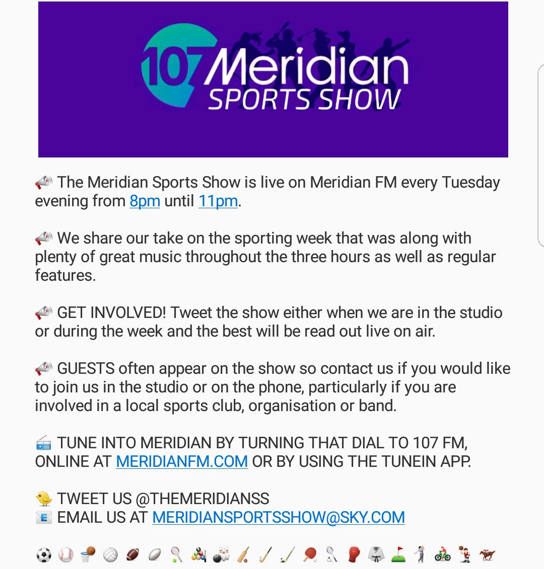 NEVER heard of the Meridian Sports Show? Find out all you need to know right here  #MeridianSS #Sport #Radio #Music<br>http://pic.twitter.com/65Dpibjy2m