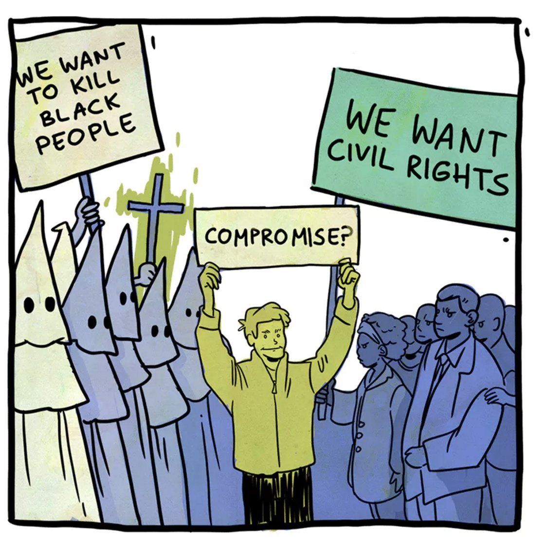 Image result for cartoon compromise black lives KKK