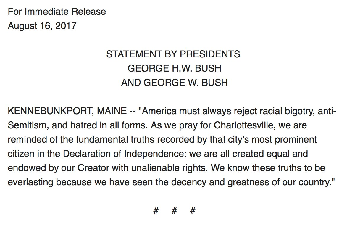 """JUST IN: Presidents George H.W. Bush and George W. Bush: """"America must always reject racial bigotry, anti-Semitism, and hatred in all forms'"""