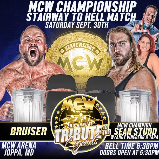 The #MCW Title is on the line at #TributeToTheLegends on Sat Sept 30th!  See @BIGSeanStudd90 take on #TheBruiser in a #StairwayToHell Match<br>http://pic.twitter.com/lCCUedGFLW