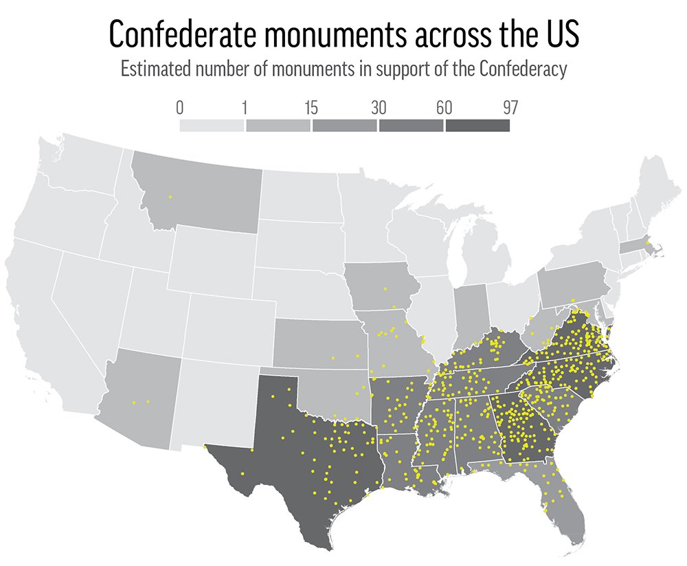 Despite the uptick in Confederate monument removals, there are more than 700 still standing across the U.S. https://t.co/9YPgVhJLaC