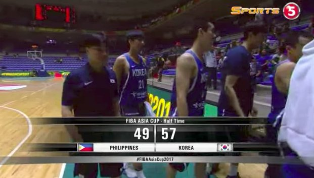 At the half; South Korea leads Gilas Pilipinas, 57-49. #LabanPilipinas...