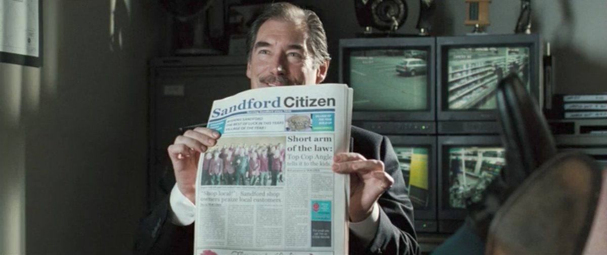 SHORT ARM OF THE LAW: TOP COP ANGLE TELLS IT TO THE KIDS. (Hot Fuzz, 2007) #Headlines #Newspapers #FakeNews<br>http://pic.twitter.com/isMAbePtKD