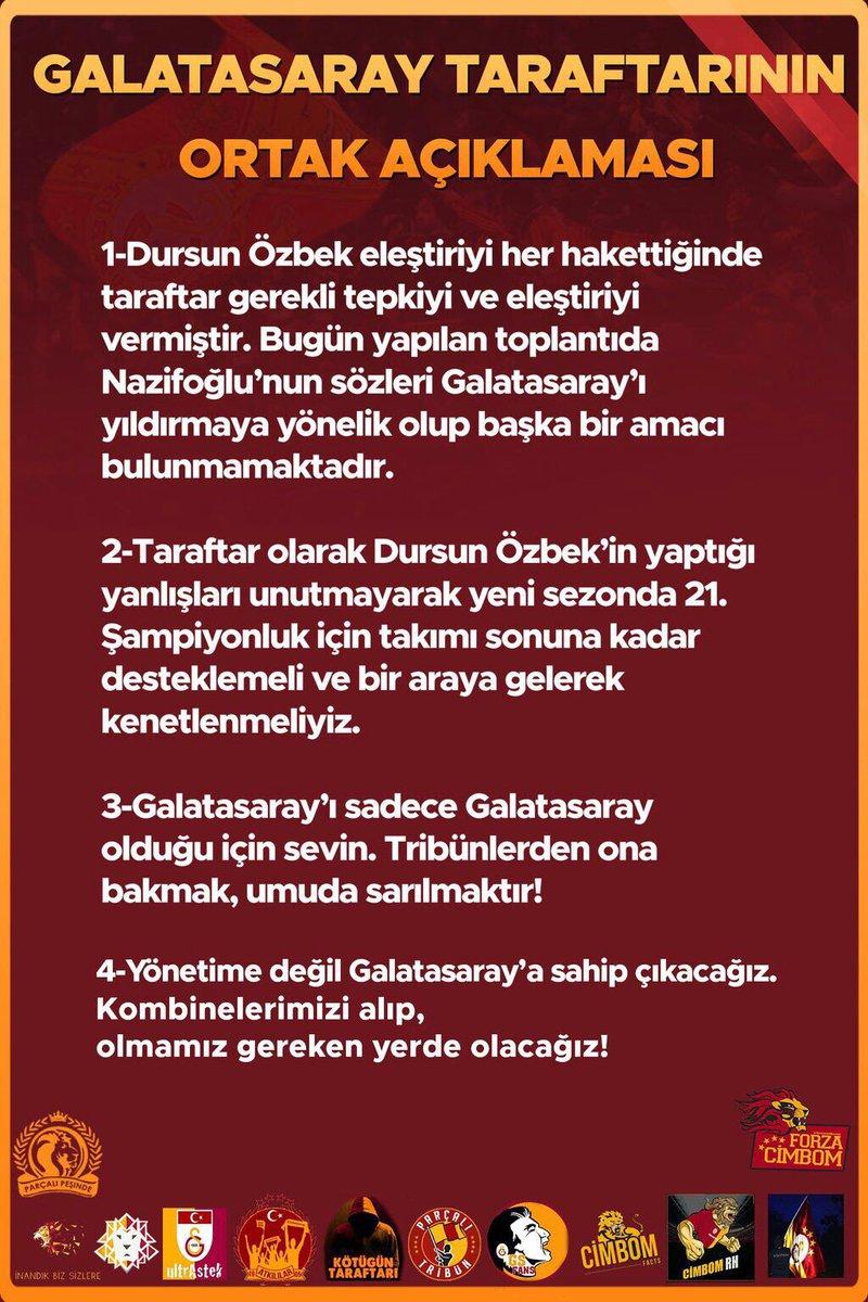ORTAK AÇIKLAMA #GalatasarayOmuzOmuza https://t.co/Z2ov9kaKOu